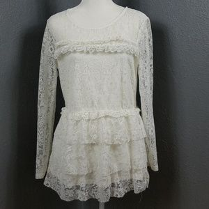 Divided by H&M Lace Tunic Top LS L Romantic Ruffle